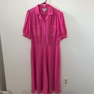 Vintage Katie Lewis Pink Belted Midi-Dress